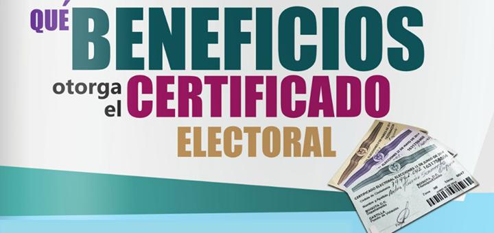 ¿Qué beneficios otorga el certificado electoral que entregan en las elecciones populares?